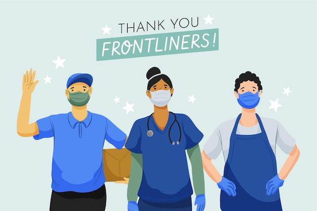 손으로 그린 필수 노동자 그림 감사합니다