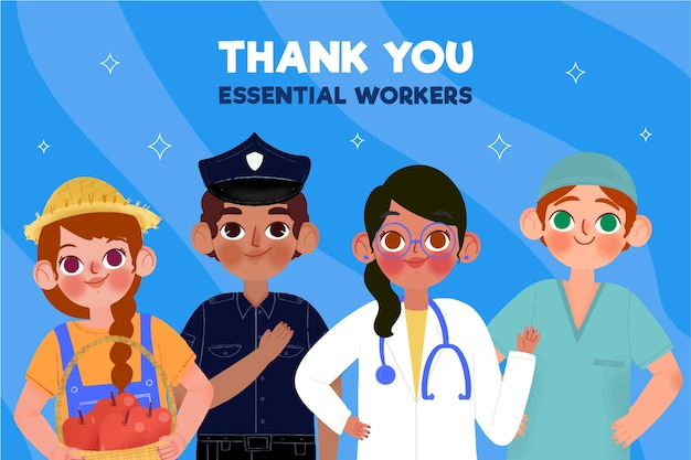 Hand drawn thank you essential workers
