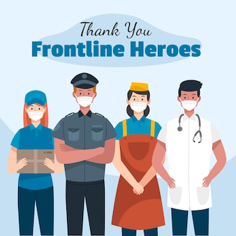 Hand drawn thank you frontline heroes