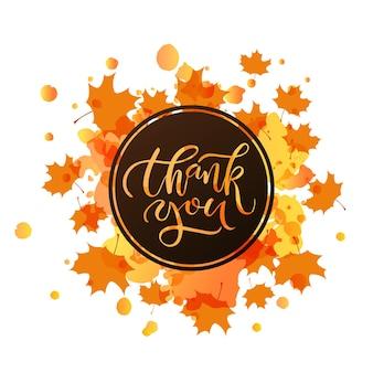 손으로 그린 감사합니다 타이포그래피 포스터입니다. 엽서, 추수 감사절 카드, 로고 또는 배지에 대한 질감된 배경에