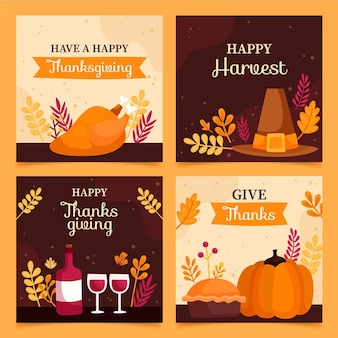 Raccolta di post instagram thanksgivinb disegnata a mano