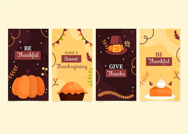 손으로 그린 thanksgivinb instagram 이야기 컬렉션
