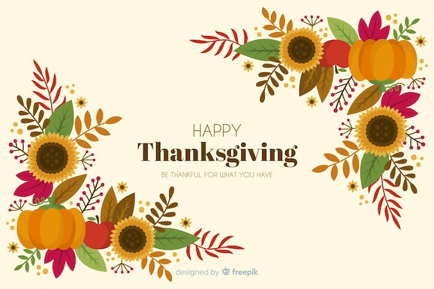 Hand drawn thanksgiving background floral frame