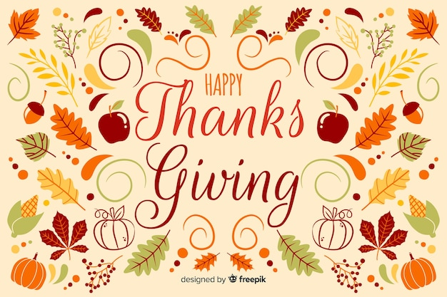 Hand drawn thanksgiving background with apples and leaves