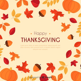 Hand drawn thanksgiving background with autumn elements