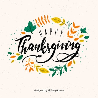 Hand drawn thanksgiving background with autumn lettering