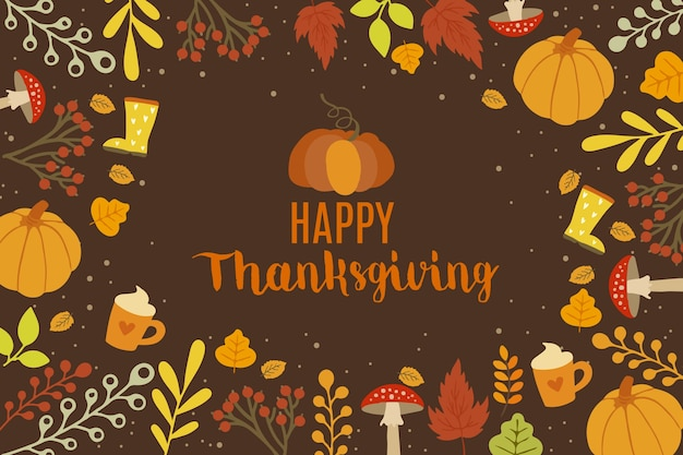 Hand drawn thanksgiving background with decoration