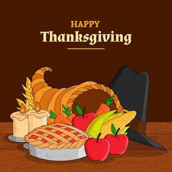 手描きの感謝祭の背景にフルーツ