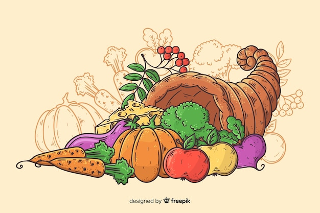 Hand drawn thanksgiving background  with harvest