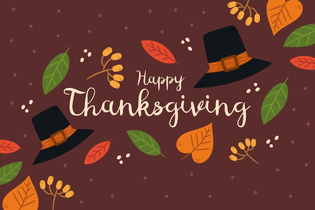 Hand drawn thanksgiving background with hats