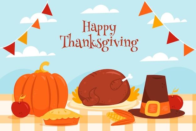 Hand drawn thanksgiving background with pumpkin and turkey