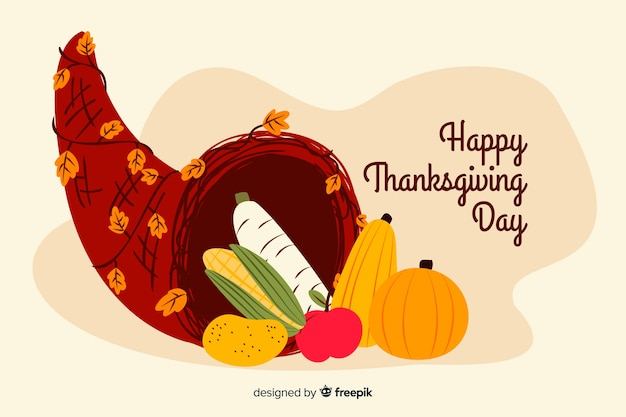 Hand drawn thanksgiving background with pumpkin