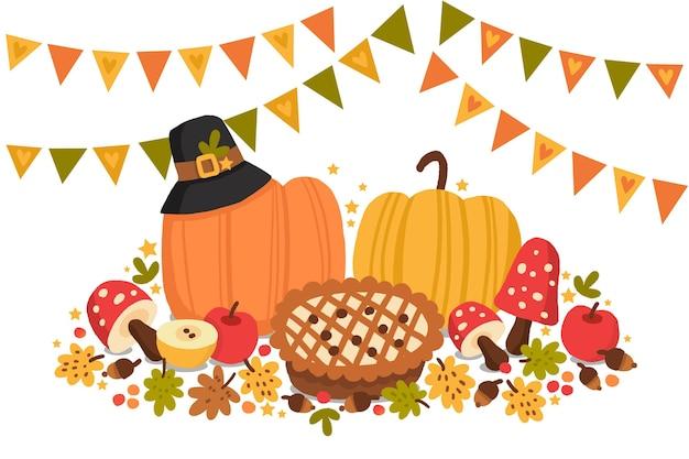Ручной обращается фон благодарения с тыквами и пирогом