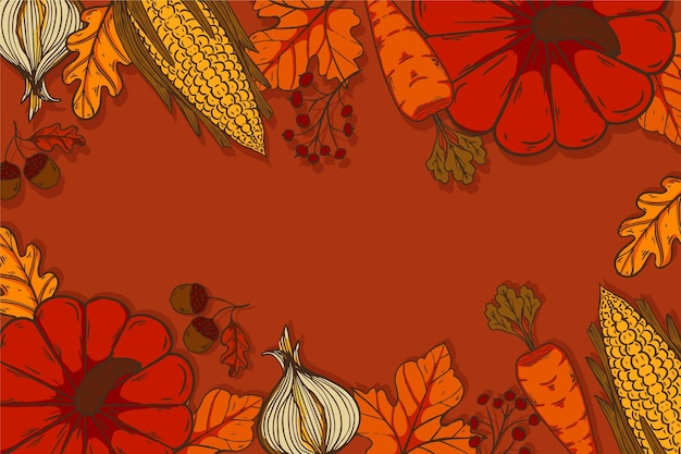 Ручной обращается фон благодарения с тыквами и овощами