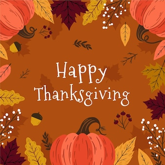 Hand drawn thanksgiving background with pumpkins and leaves