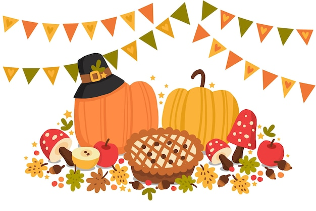 Hand drawn thanksgiving background with pumpkins and pie