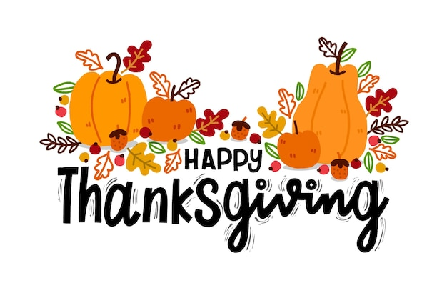 Hand drawn thanksgiving background with pumpkins