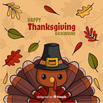 Hand drawn thanksgiving background with turkey