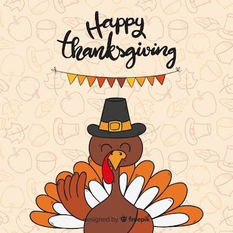 Hand drawn thanksgiving background with turkey