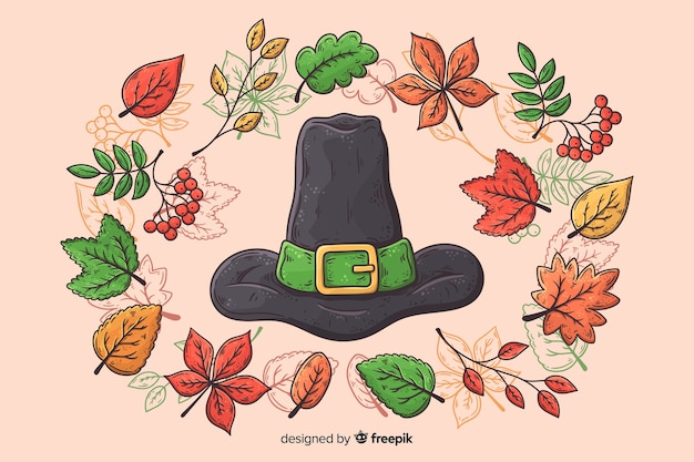 Hand drawn thanksgiving background with witch hat