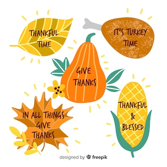 Hand-drawn thanksgiving badge collection