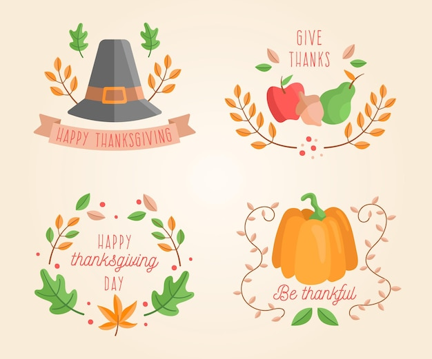 Hand drawn thanksgiving badge collection