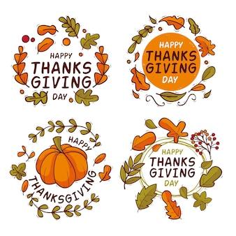手描きの感謝祭バッジコレクション