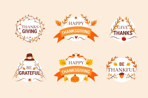 Hand drawn thanksgiving badge pack