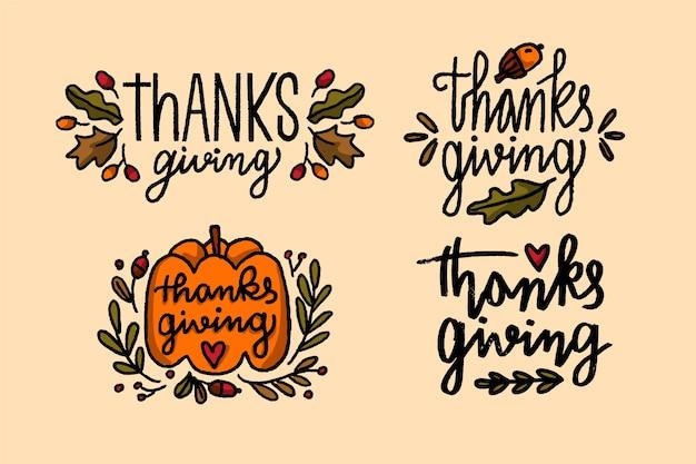 Набор рисованной значок благодарения