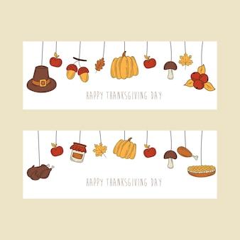Ручной обращается дизайн баннера благодарения праздничная открытка в стиле каракули