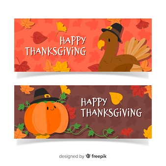 Hand drawn thanksgiving banner set with turkey and pumpkin