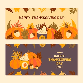 Hand drawn thanksgiving banner template