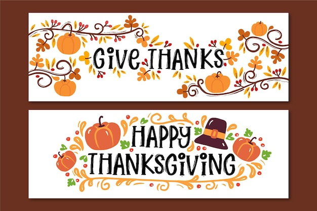 Hand drawn thanksgiving banners collection