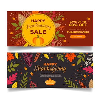 Hand drawn thanksgiving banners set