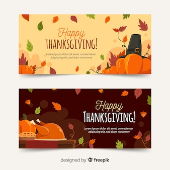 Hand drawn thanksgiving banners template