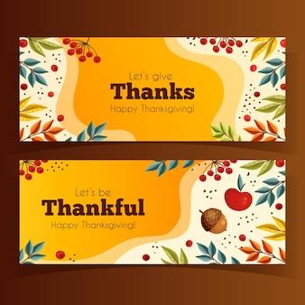Ручной обращается шаблон баннеров благодарения