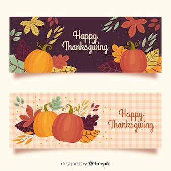 Hand drawn thanksgiving banners