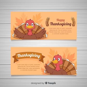 Hand drawn thanksgiving day banner set