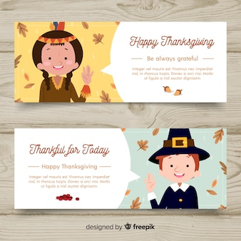 Hand drawn thanksgiving day banner set