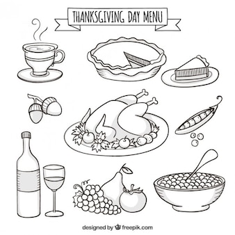 Hand drawn thanksgiving day menu