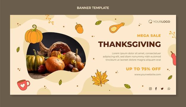 Banner di vendita orizzontale del ringraziamento disegnato a mano