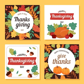 Hand drawn thanksgiving instagram post collection Free Vector