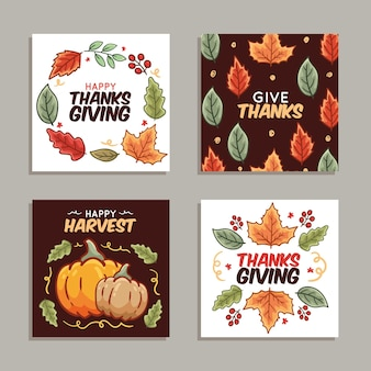 Hand drawn thanksgiving instagram posts collection template