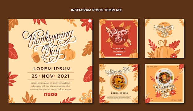 Hand drawn thanksgiving instagram posts collection