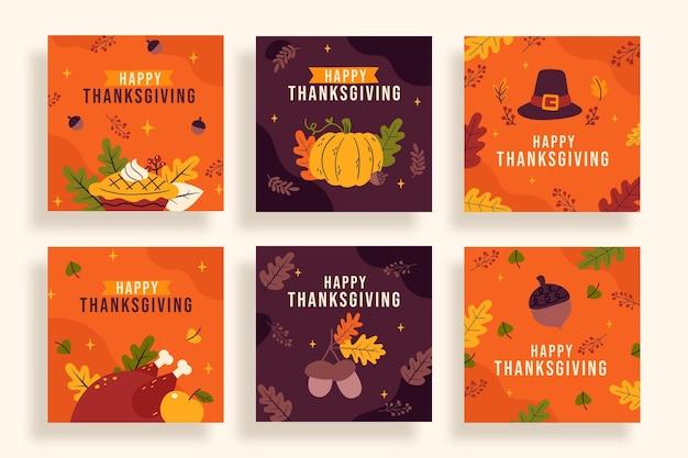 Collezione di post di instagram del ringraziamento disegnata a mano