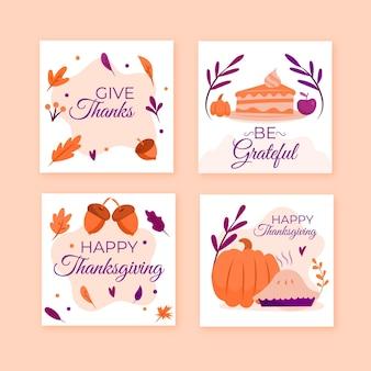 Hand drawn thanksgiving instagram posts pack