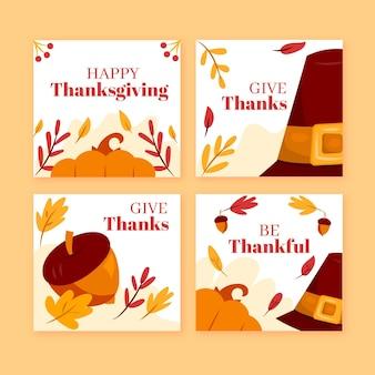 Hand drawn thanksgiving instagram posts set