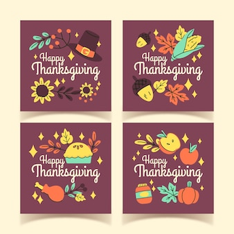 Hand drawn thanksgiving instagram posts