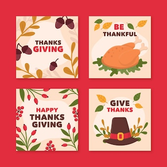 Hand drawn thanksgiving instagram posts