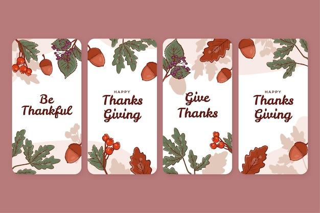 Raccolta di storie di instagram del ringraziamento disegnate a mano